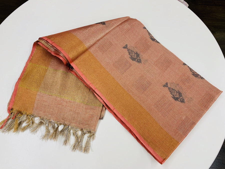 Peach and Gold Linen Tissue Saree
