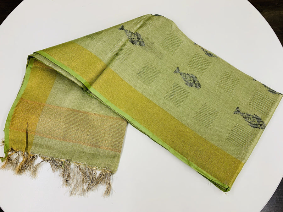 Green Linen Tissue Saree
