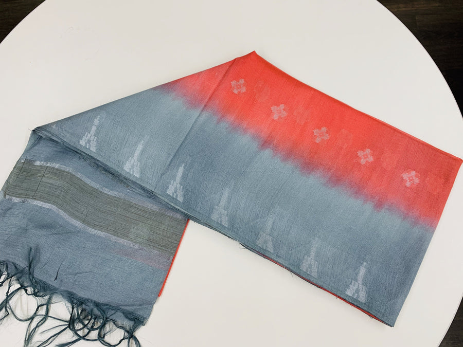 Red and Grey Shibhori Linen Tissue Saree