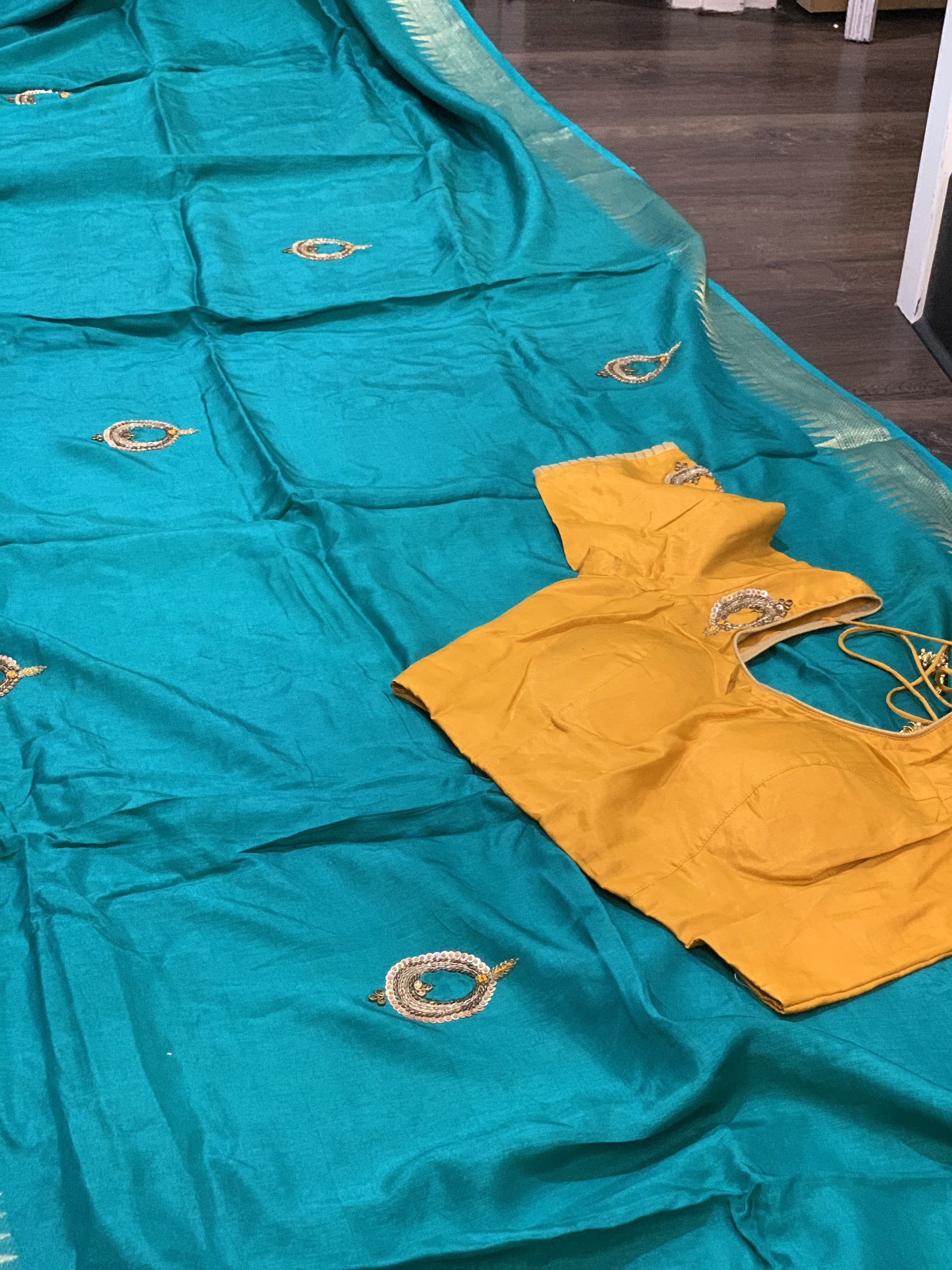Sea Green and Yellow Moonga Silk Saree