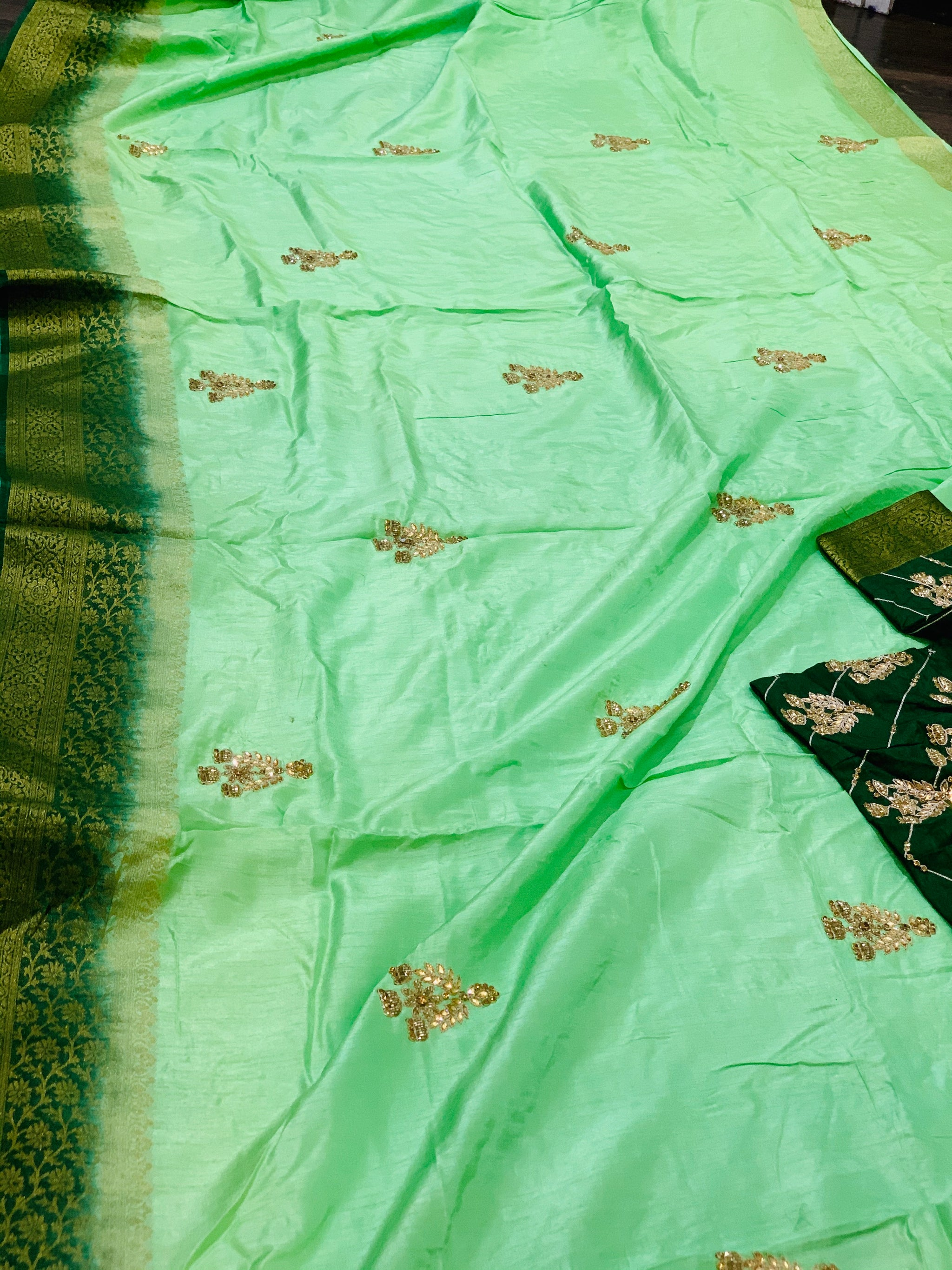 Mint Green and Green Moonga Silk Saree - Sakkhi Style