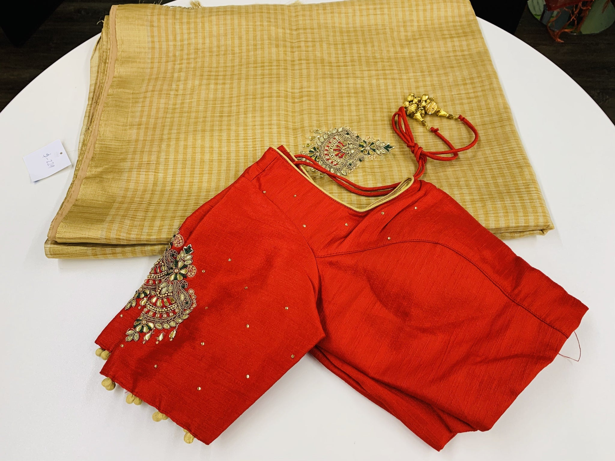 Gold and Red Tissue Pattu Saree