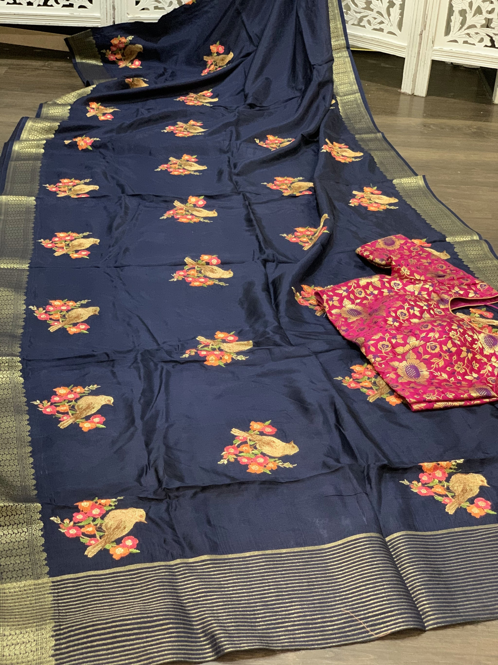 Navy Blue and Pink Moonga Silk Saree - Sakkhi Style