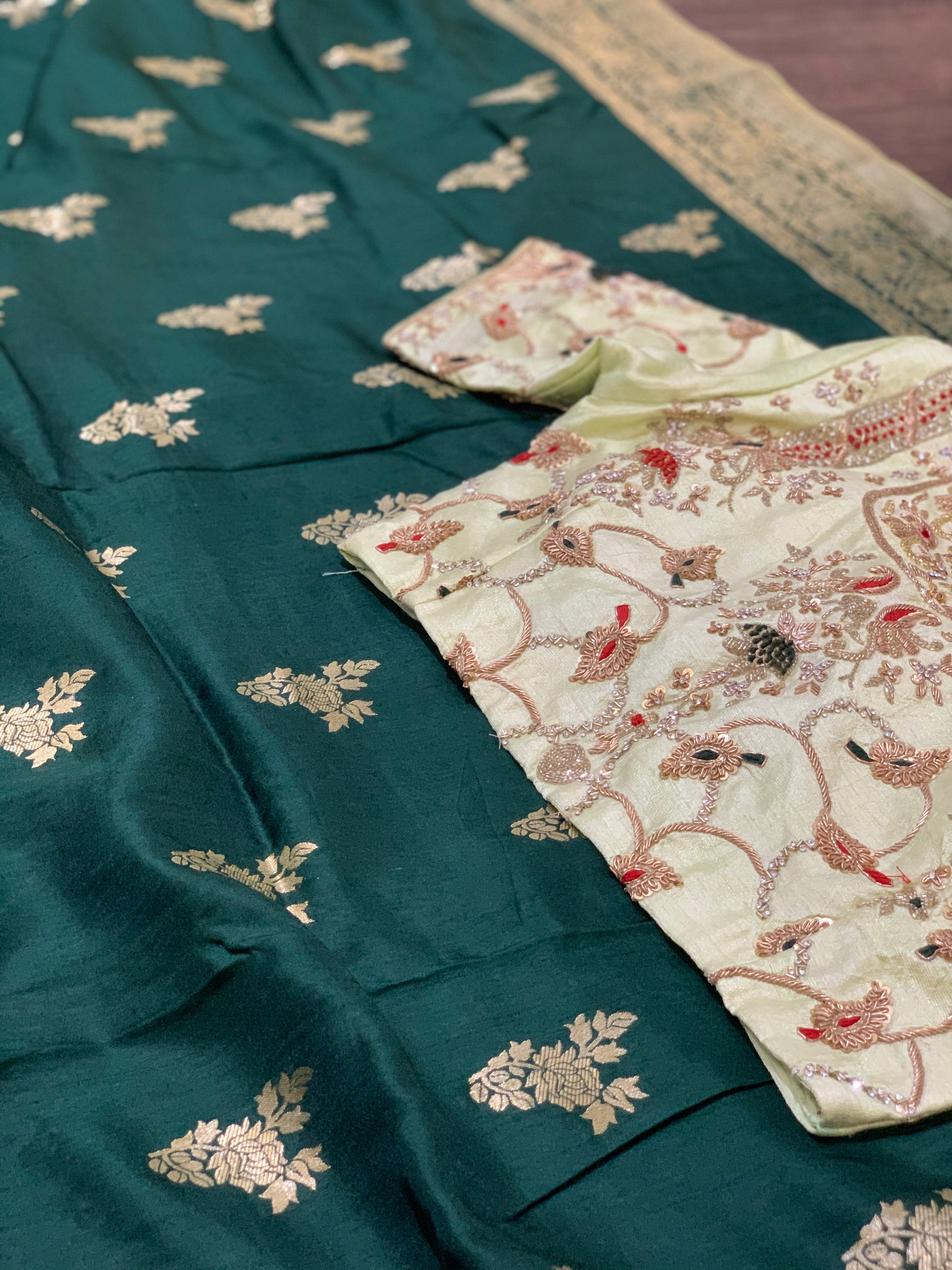 Green and Mint Green Moonga Silk Saree