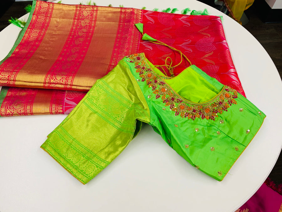 Pink and Green Kanjeevaram Pattu Saree