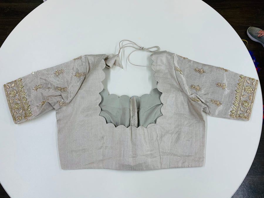 Silver Embroidered Customized Blouse