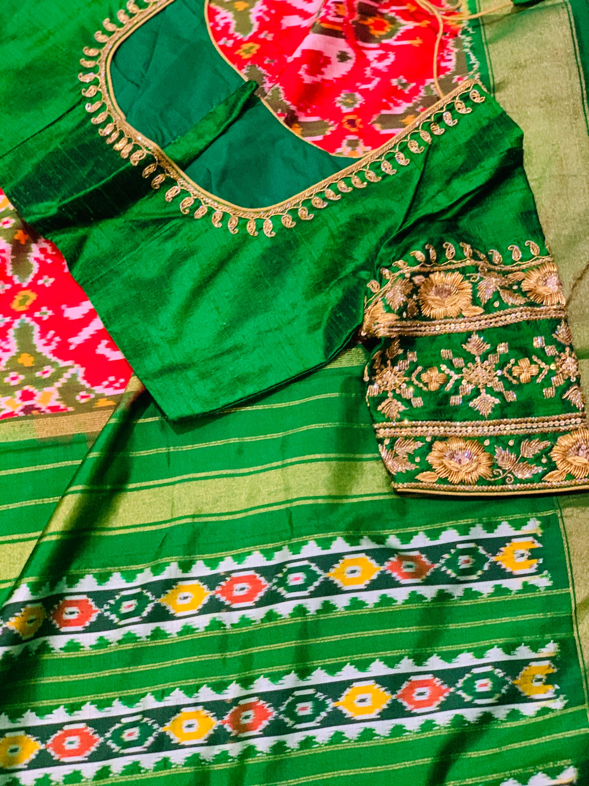 Red and Green Ikkat Pochampally Saree