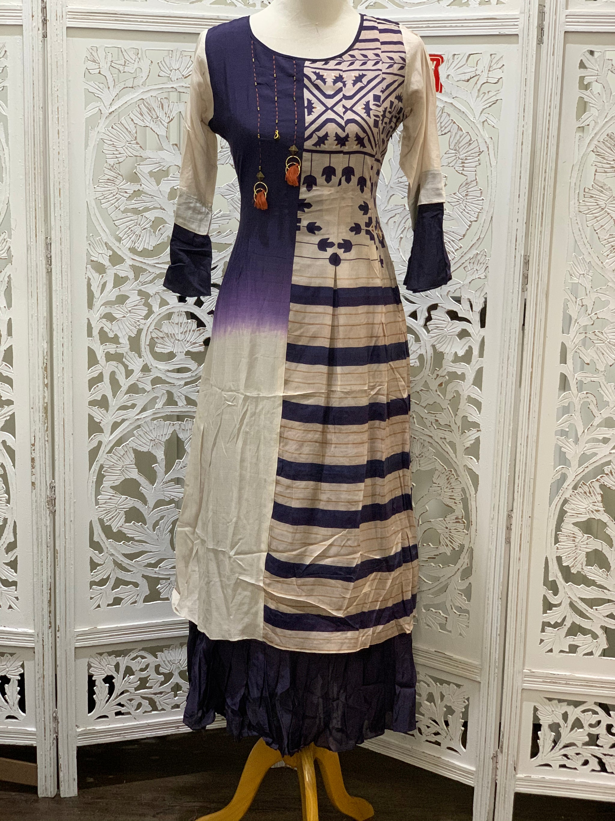 Navy Blue and Beige Kurti
