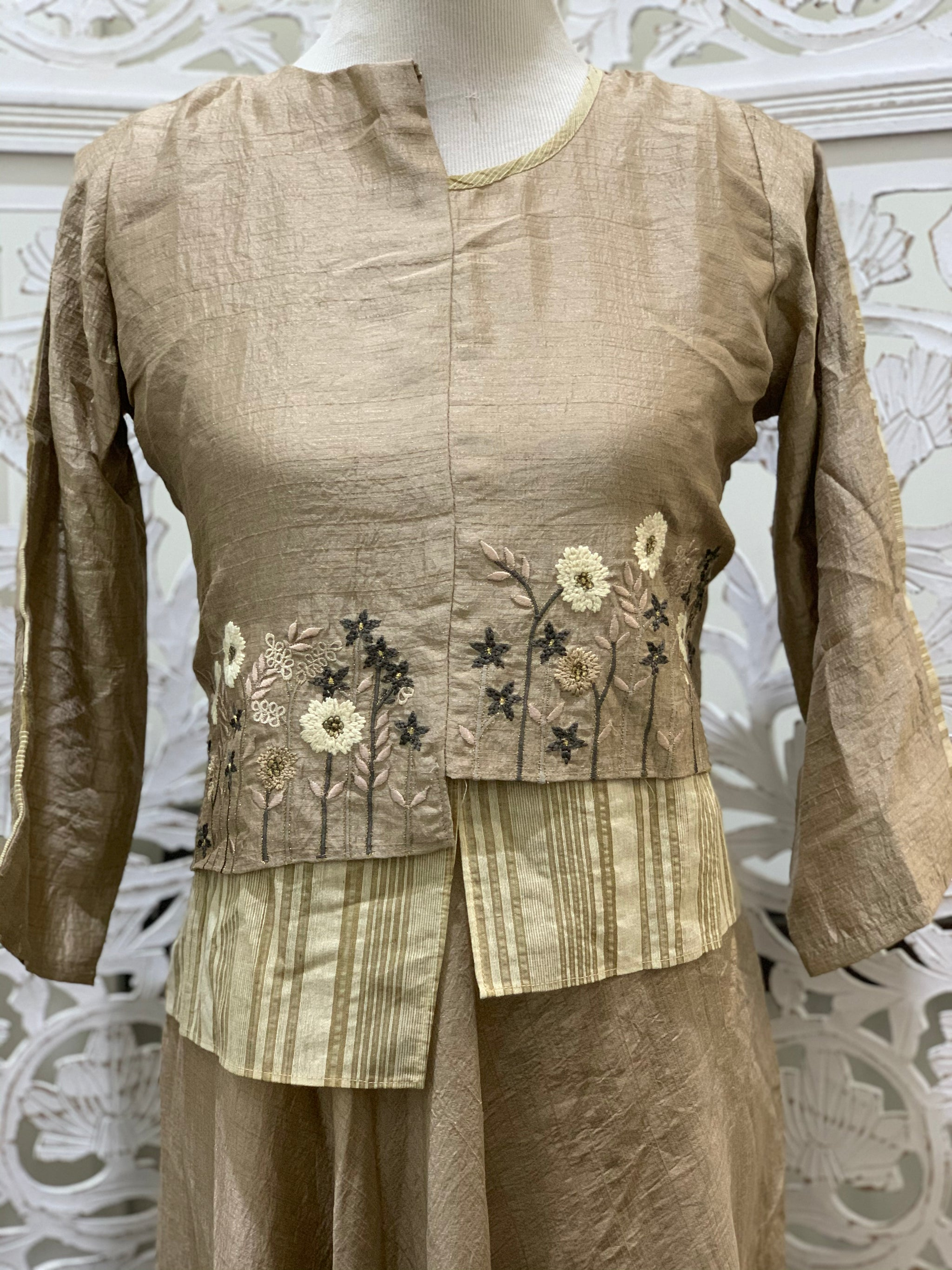 Brown Embroidered Kurti
