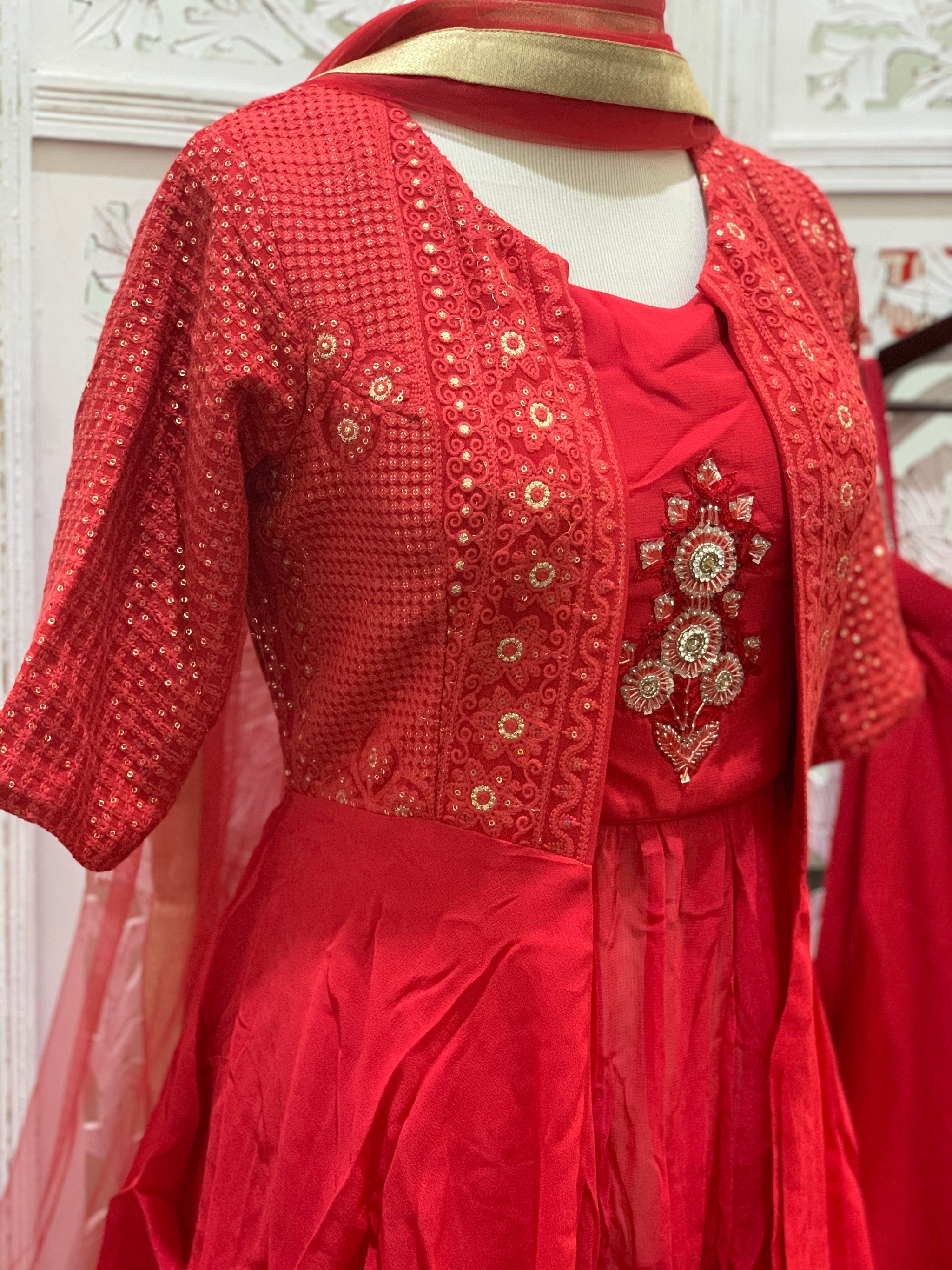 Red Jacket Style Palazzo Suit
