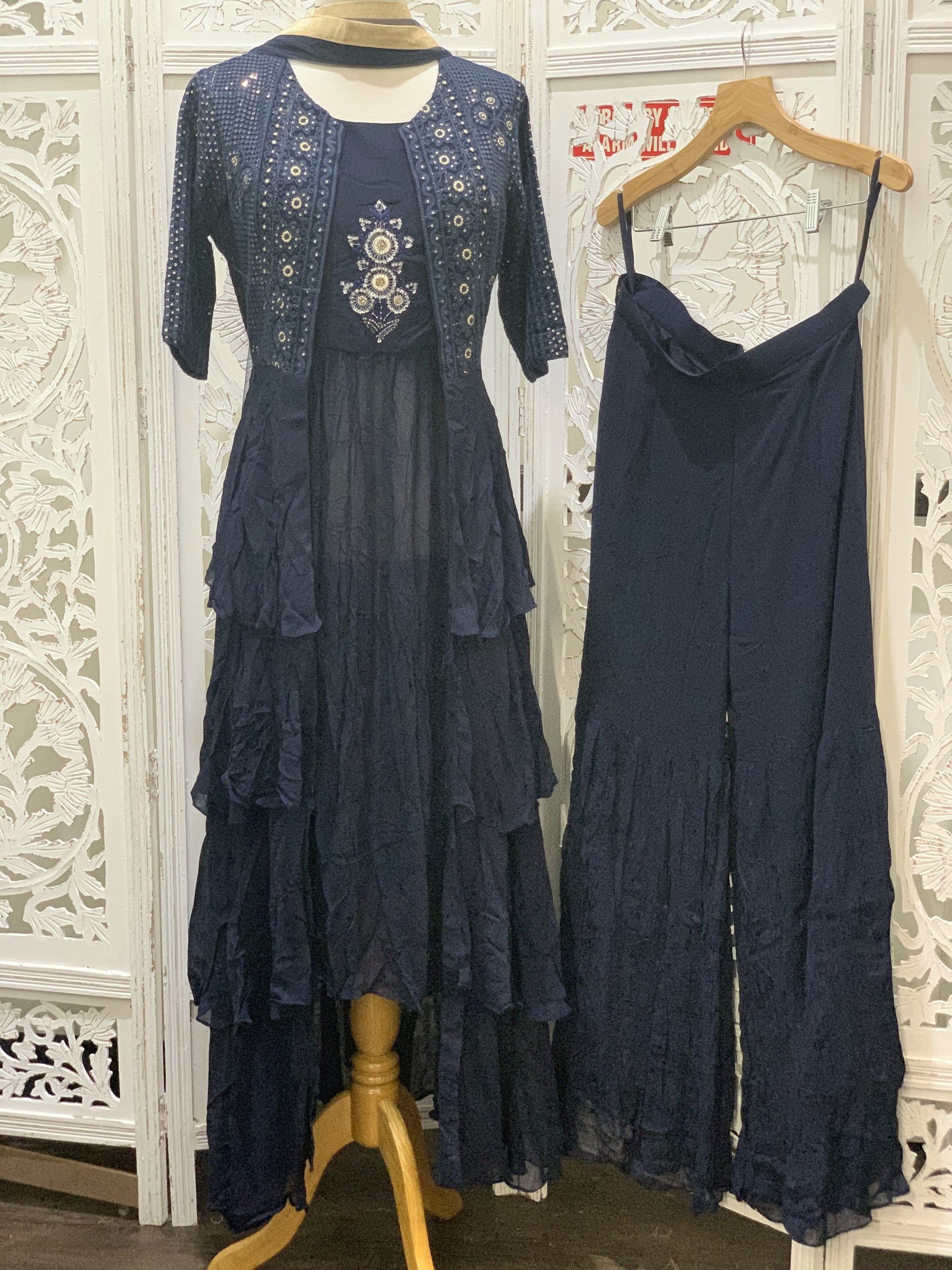 Navy Blue Jacket Style Palazzo Suit