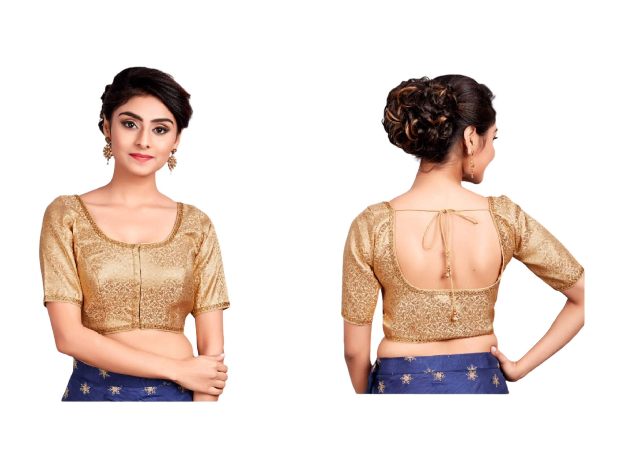 Gold Floral Blouse - Sakkhi Style
