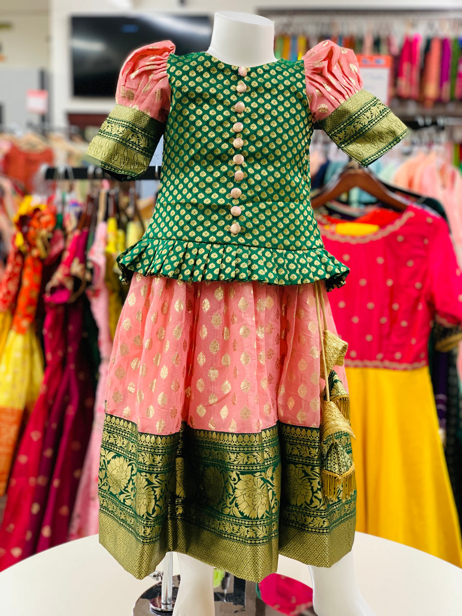 Green and Pink Pavadai/Lehenga Choli