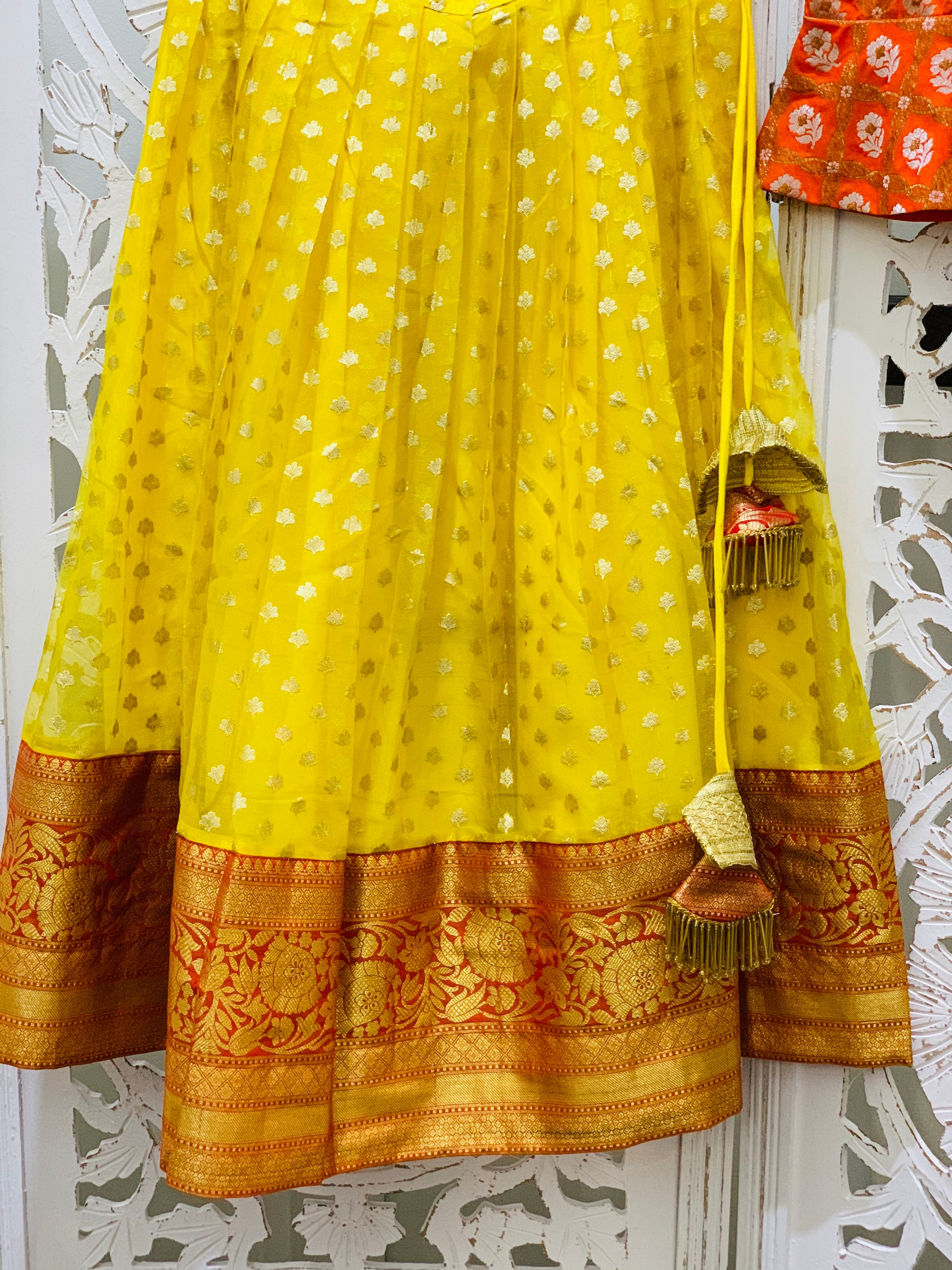 Orange and Yellow Pavadai/Lehenga Choli