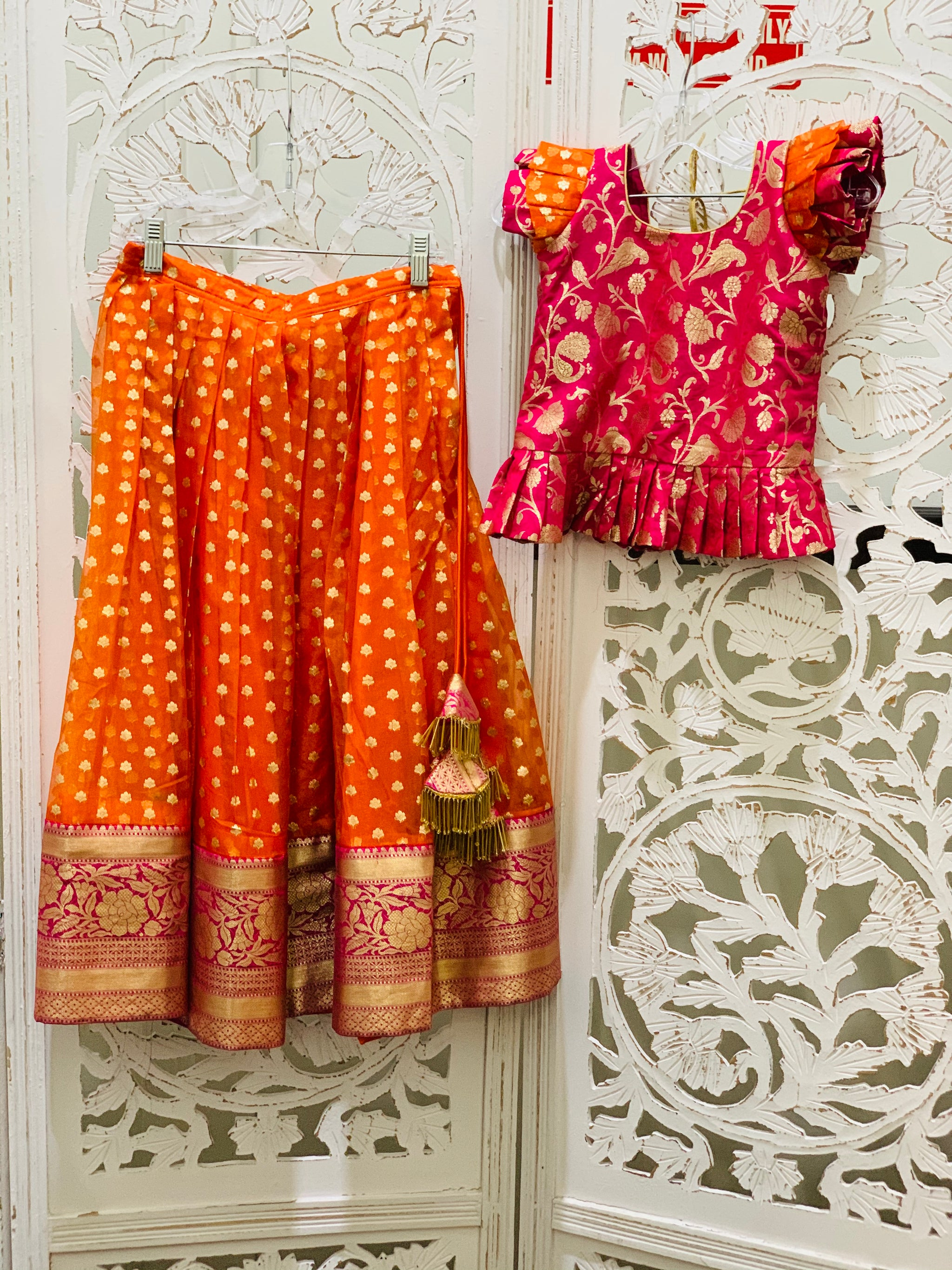 Pink and Orange Pavadai/Lehenga Choli