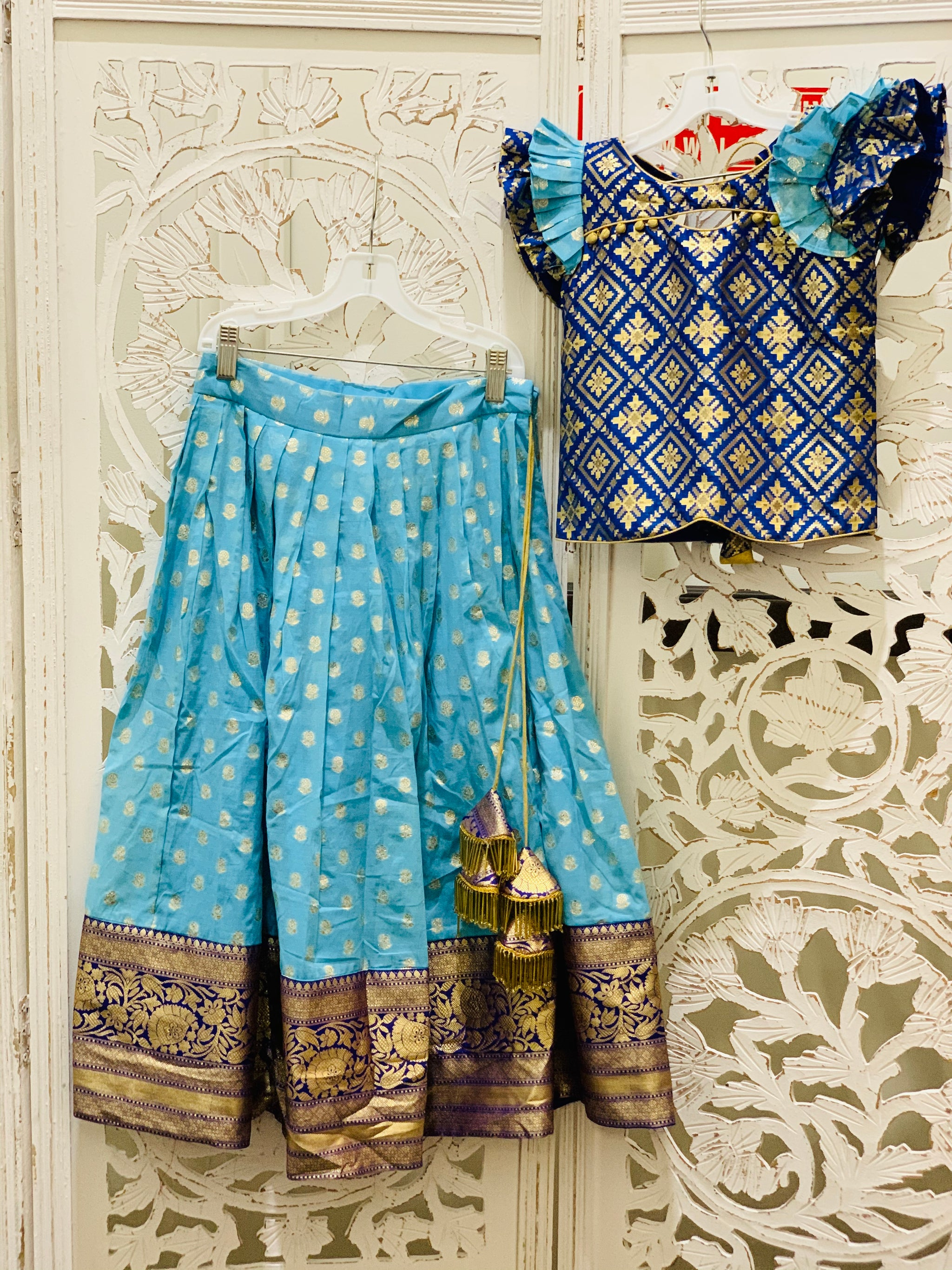 Deep Blue and Blue Pavadai/Lehenga Choli