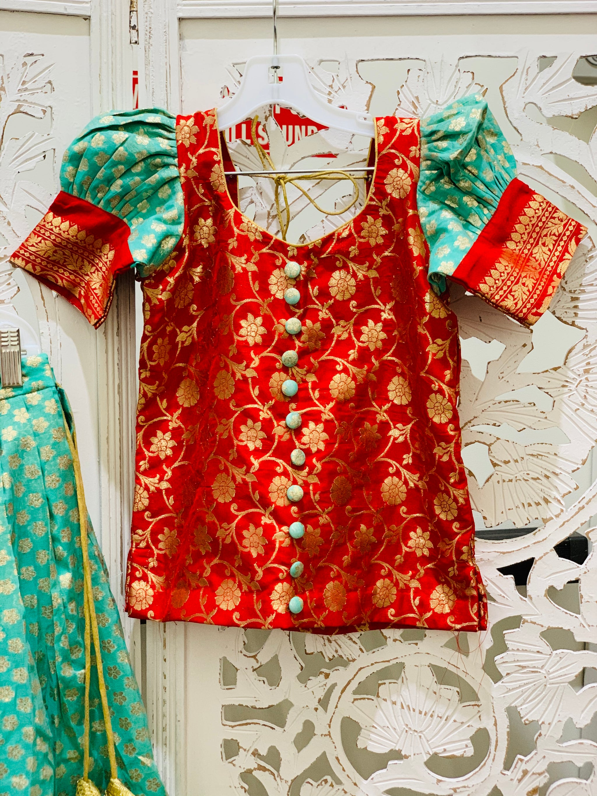 Red and Turquoise Pavadai/Lehenga Choli