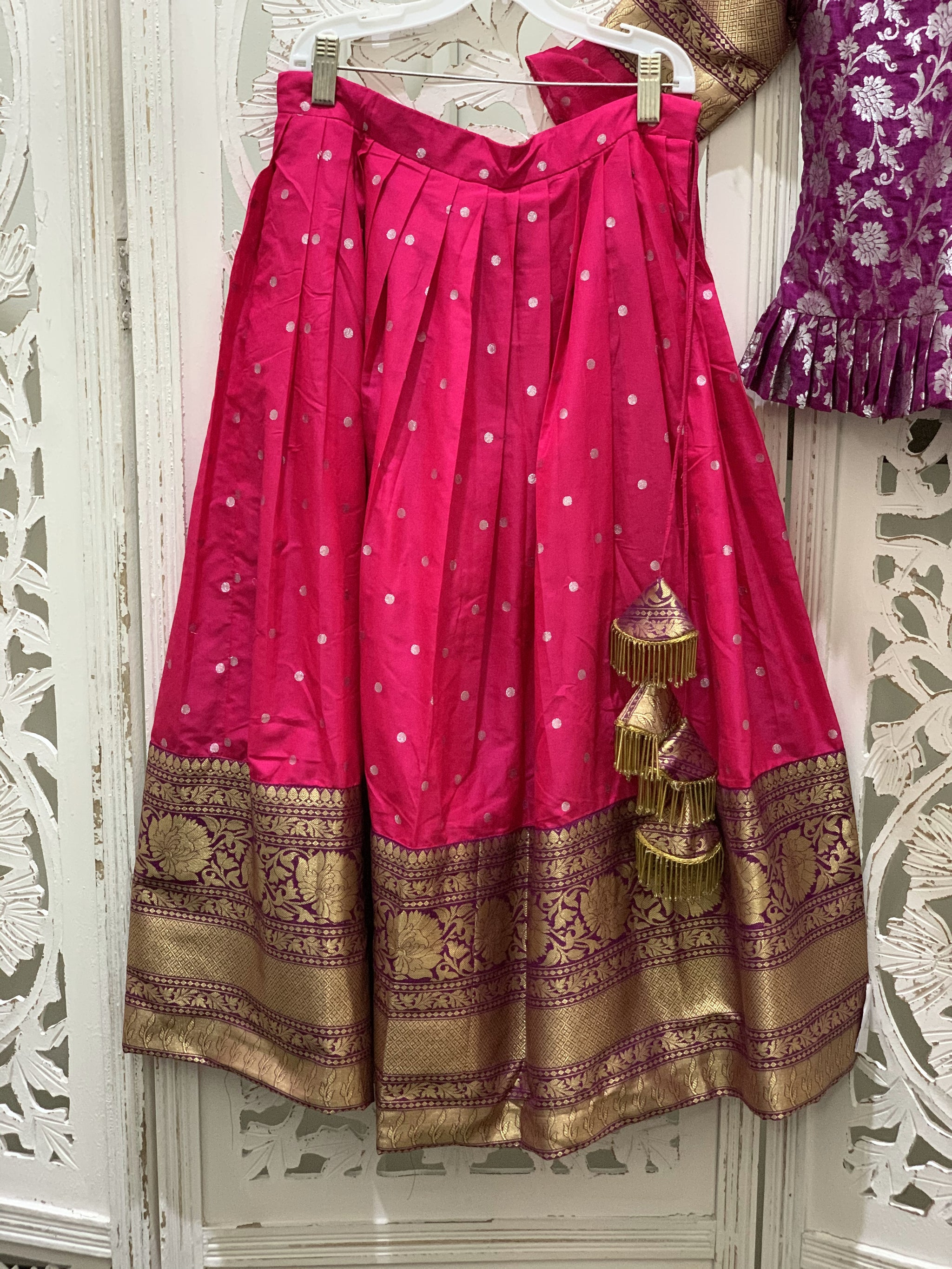 Purple and Pink Pavadai/Lehenga Choli - Sakkhi Style