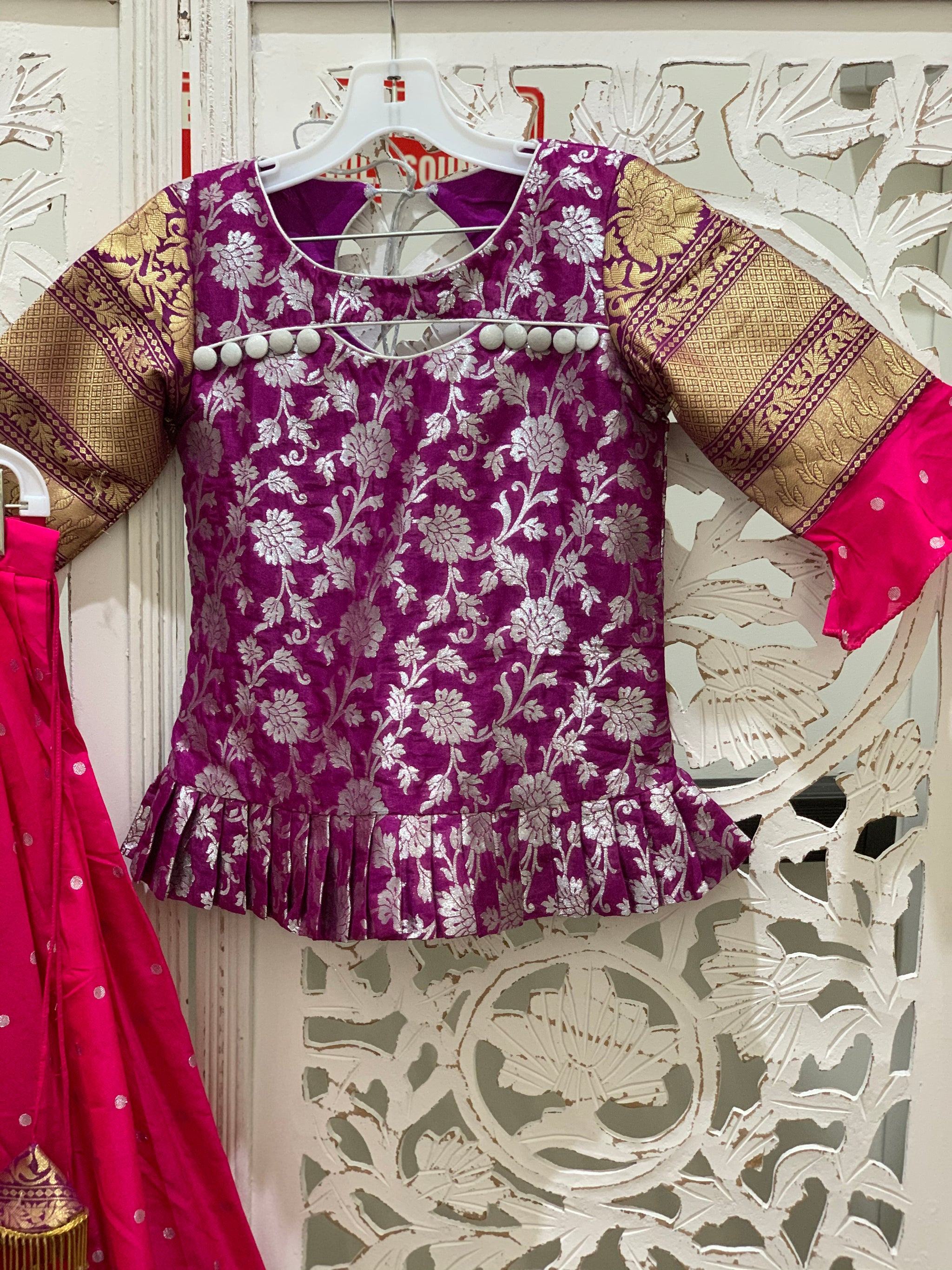 Purple and Pink Pavadai/Lehenga Choli