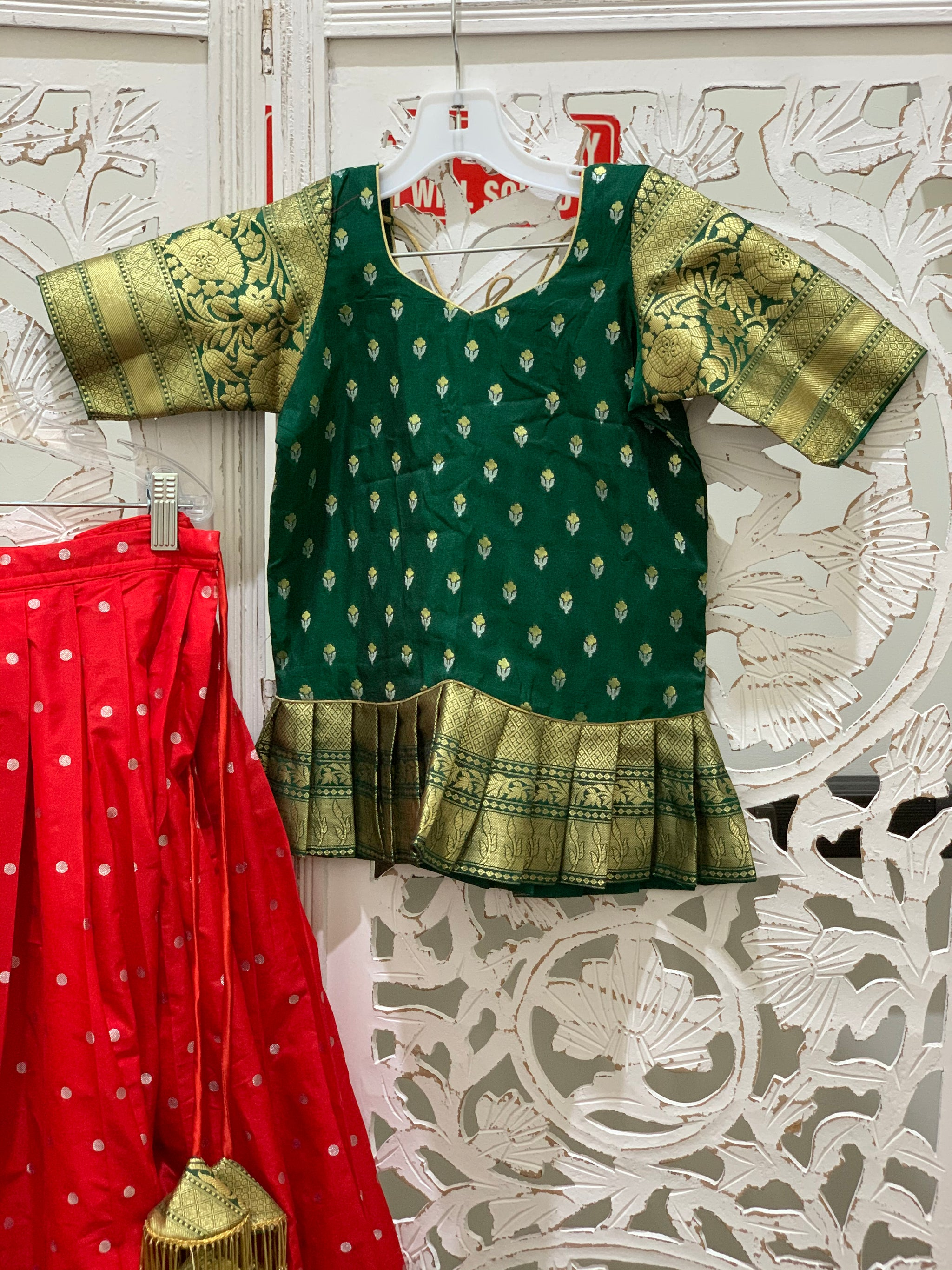 Green and Red Pavadai/Lehenga Choli - Sakkhi Style