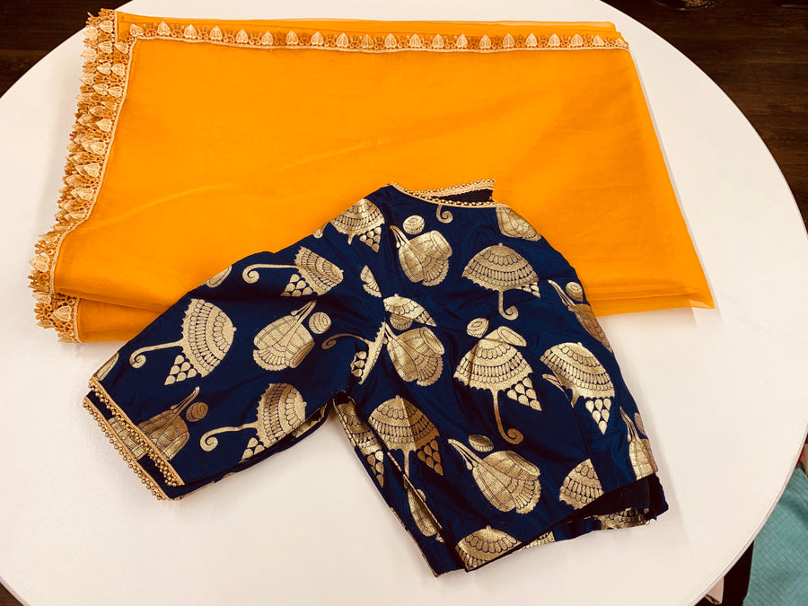 Yellow and Blue Organza Saree