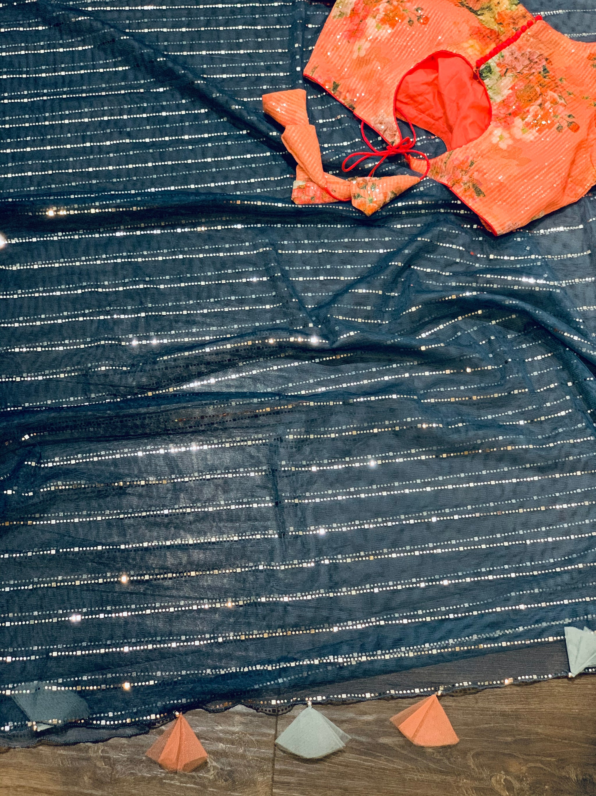 Navy Blue and Grey Organza Saree