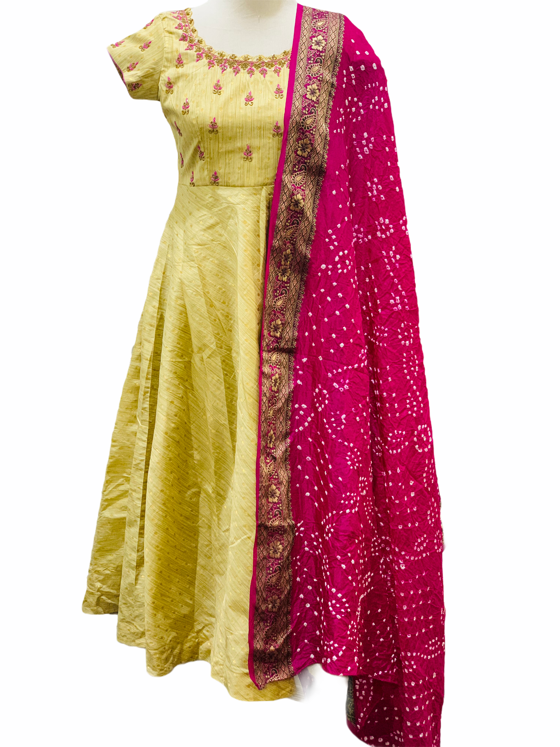 Gold and Pink Anarkali Suit
