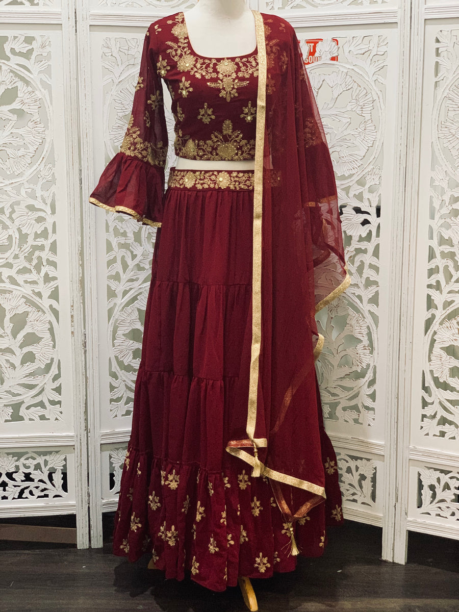 Burgundy and Gold Lehenga Choli
