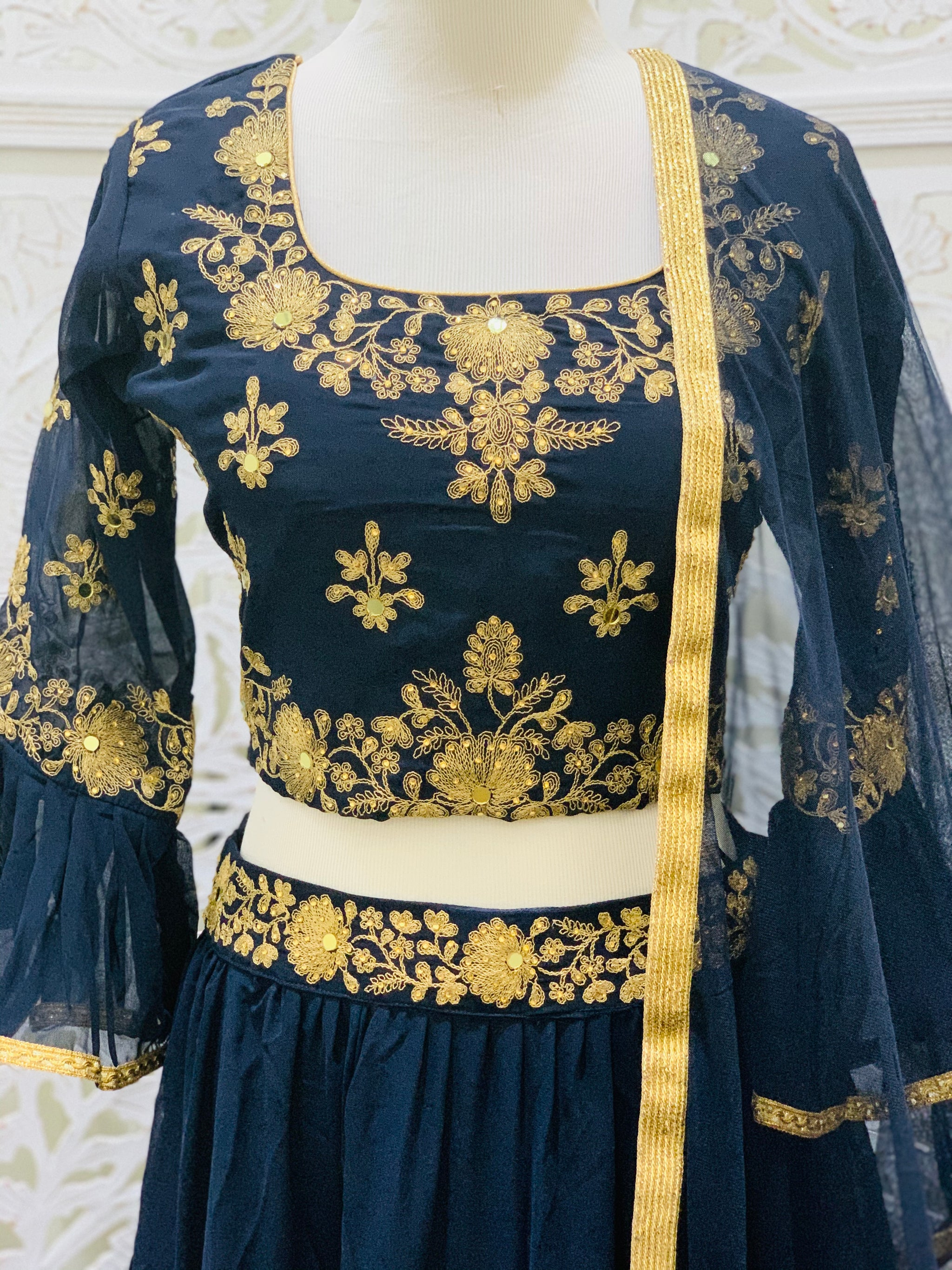 Navy Blue and Gold Lehenga Choli