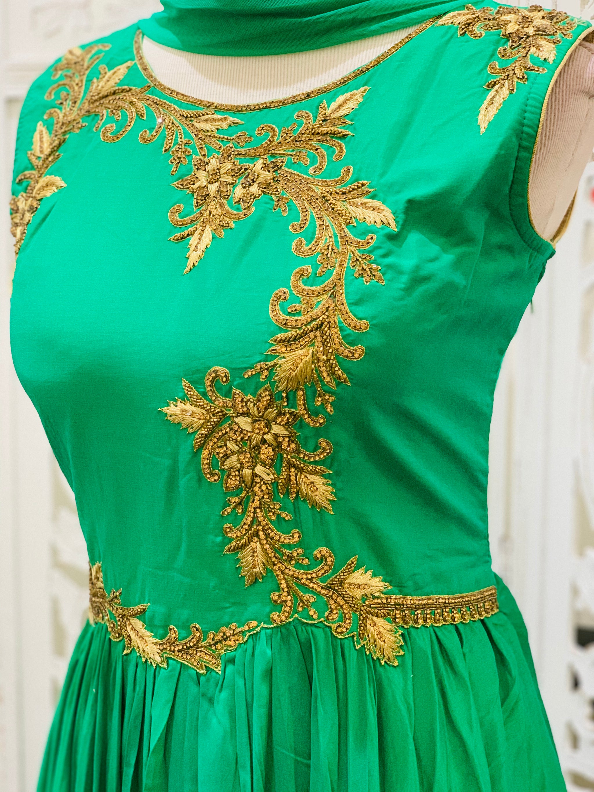 Green and Gold Anarkali Gown