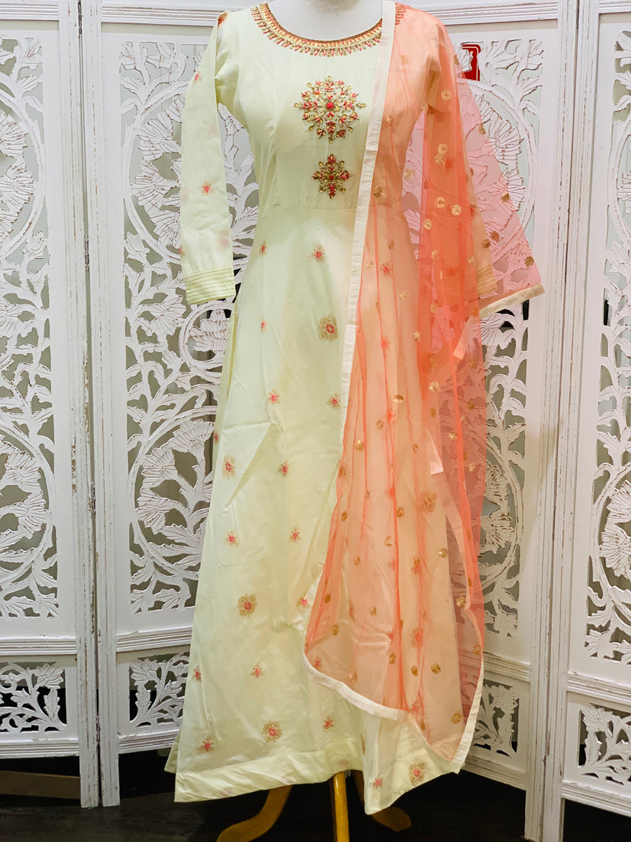 Cream and Pink Anarkali Suit