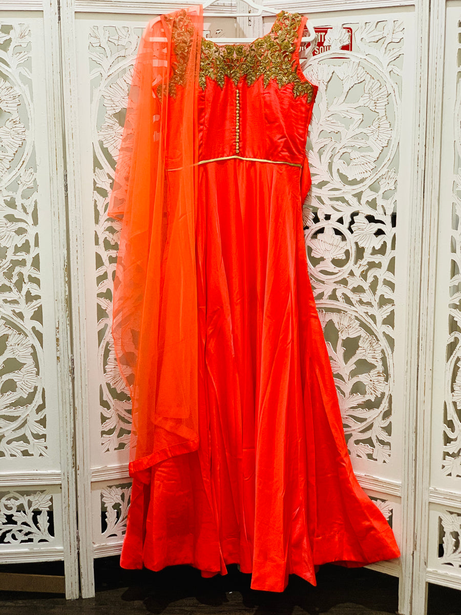 Dark Peach and Gold Anarkali Gown