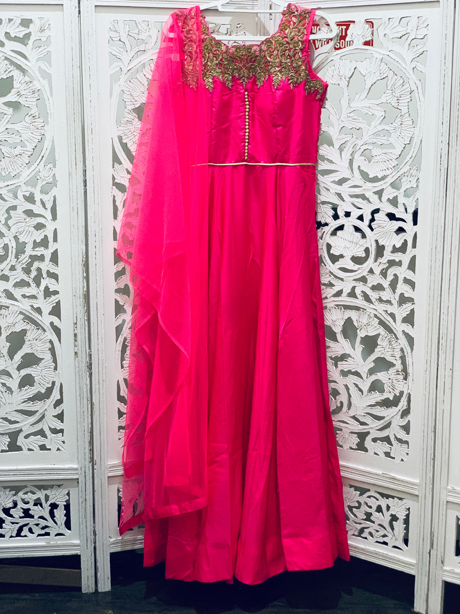 Pink and Gold Anarkali Gown
