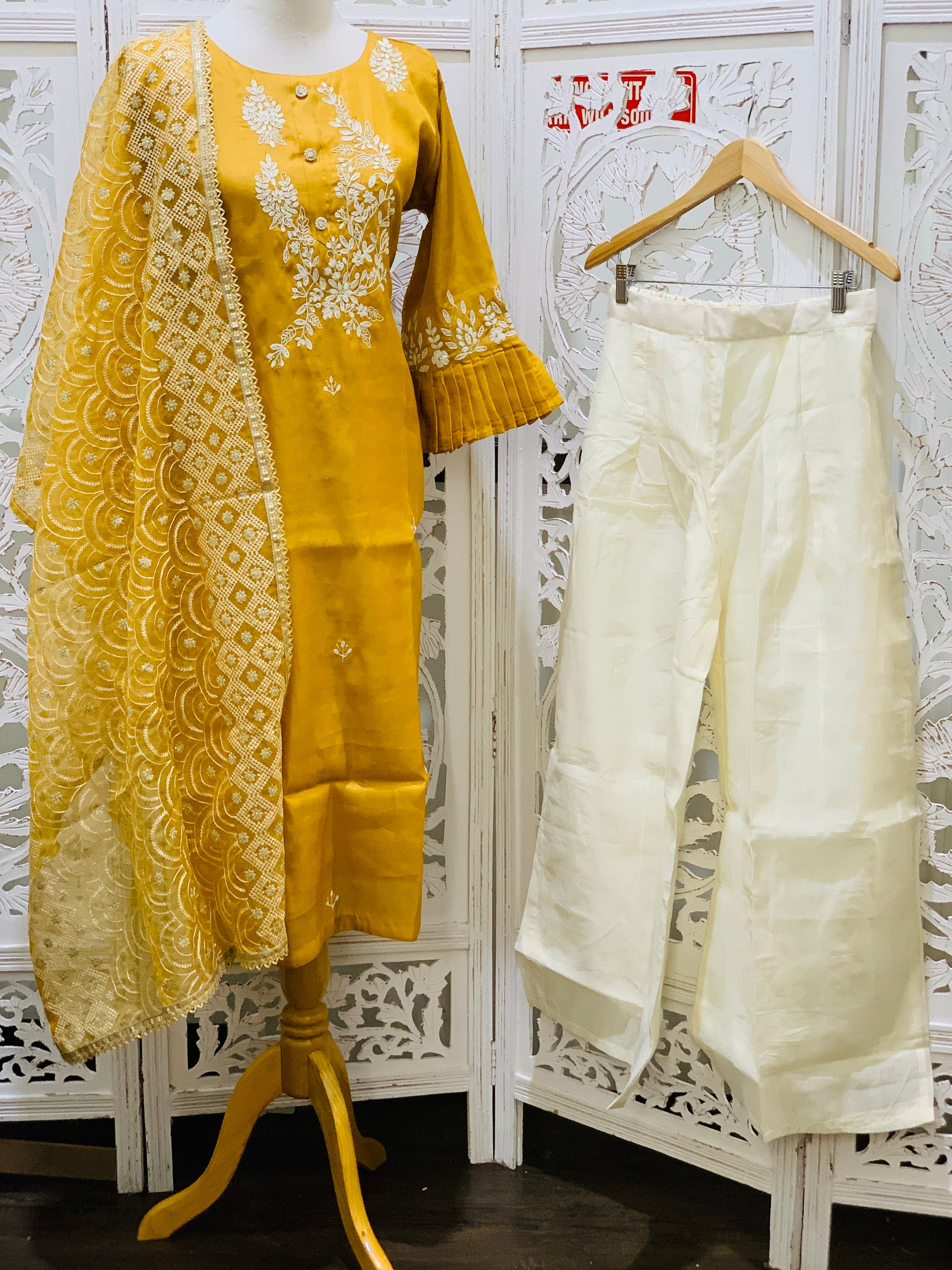Mustard Yellow and Off-White Palazzo Suit
