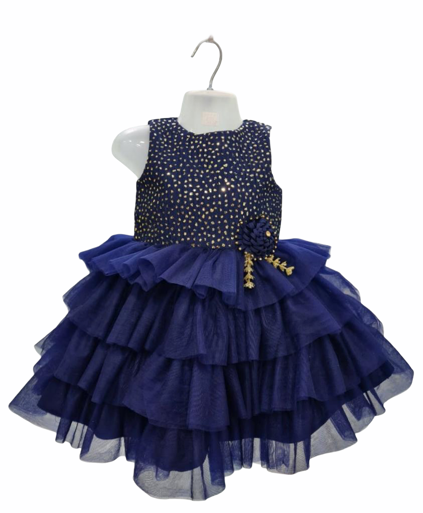 Navy Blue and Gold Sleeveless Frock