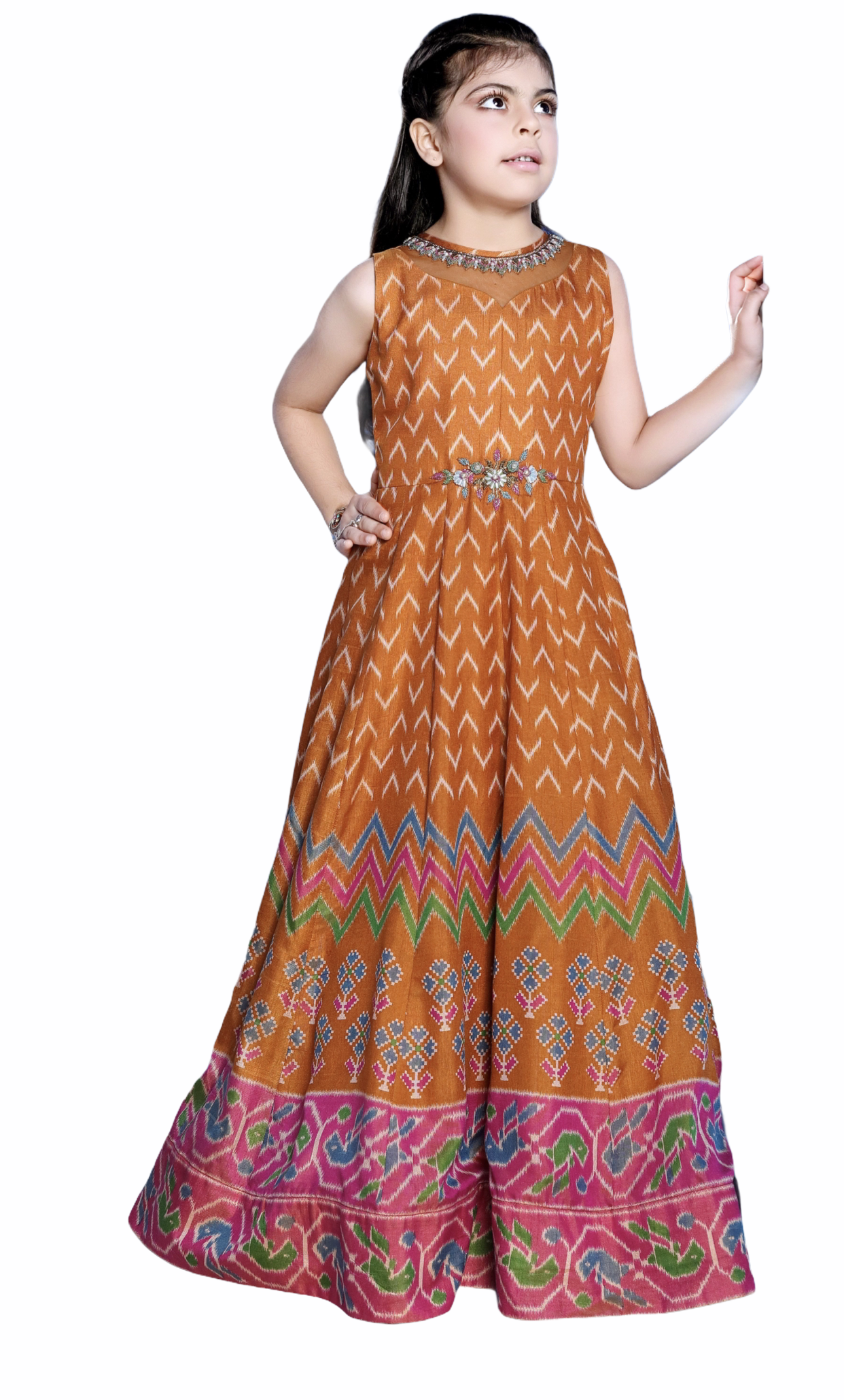 Yellow and Pink Anarkali Gown - Sakkhi Style