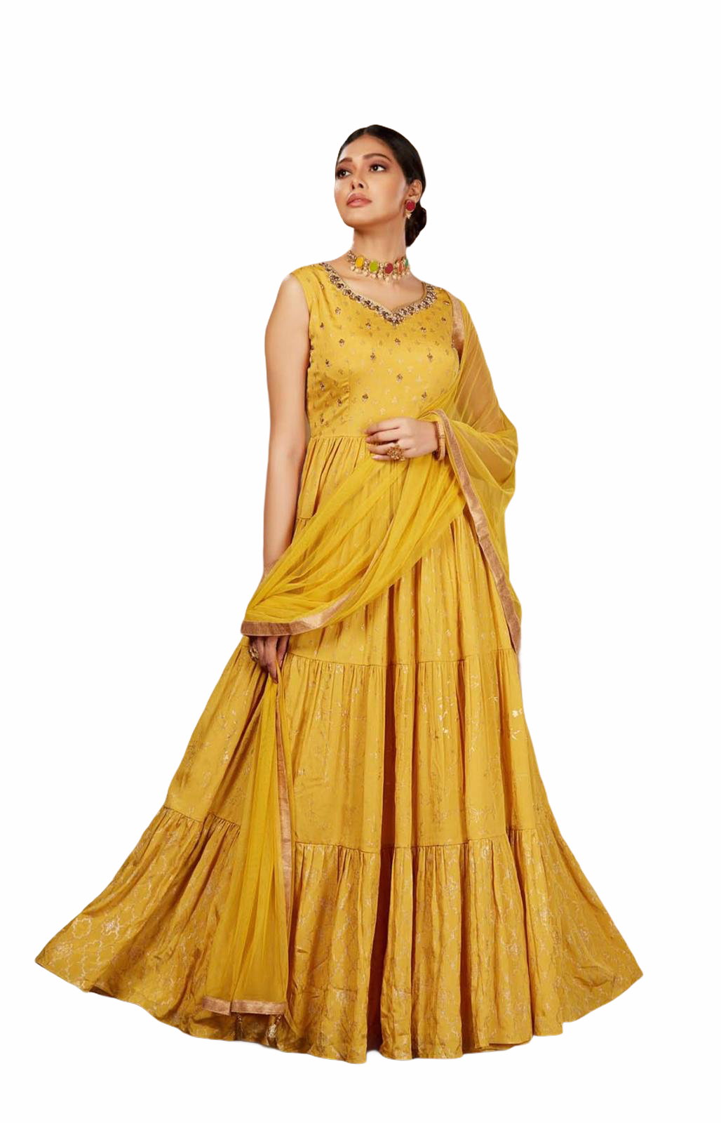 Yellow and Gold/Silver Anarkali Suit - Sakkhi Style