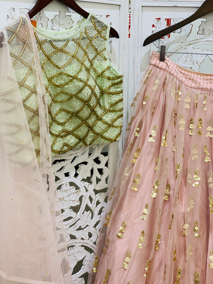 Mint Green and Pink Lehenga Choli