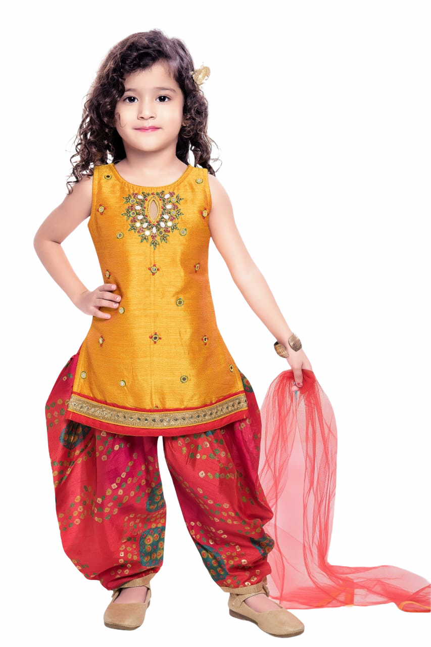 Yellow and Red Salwar Suit - Sakkhi Style