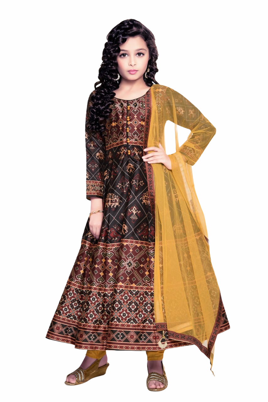 Black and Yellow Anarkali Suit