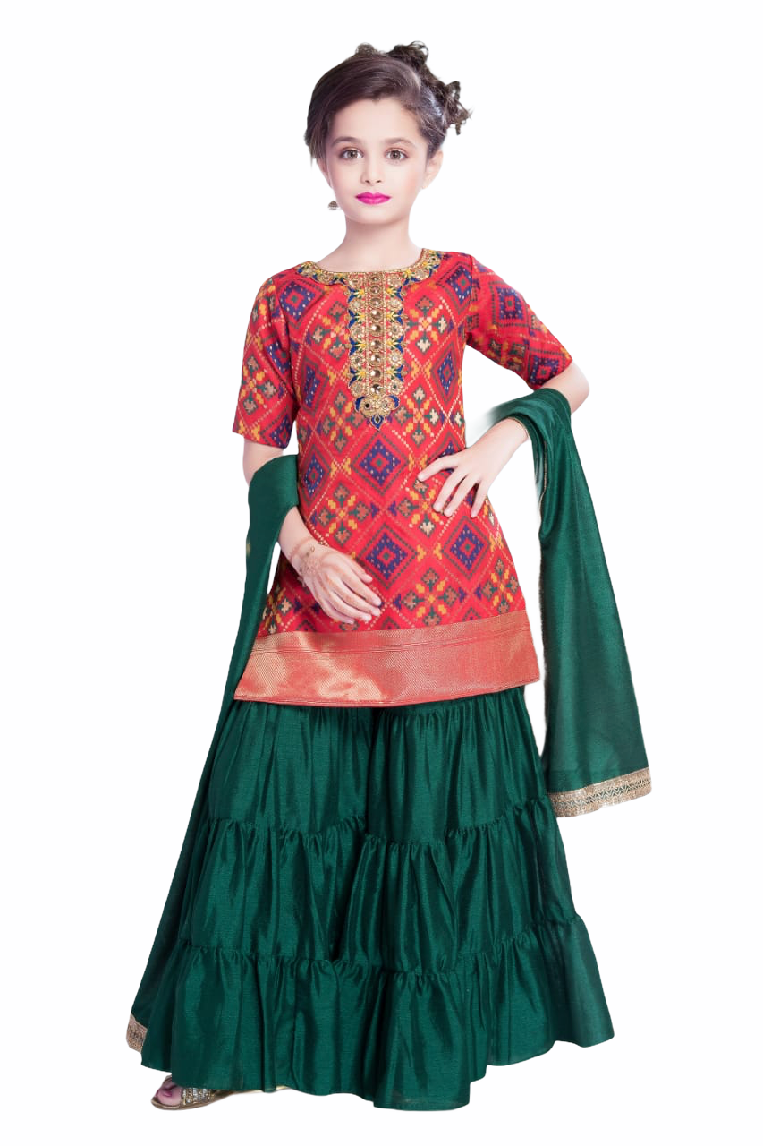 Red and Green Gharara/Sharara Suit - Sakkhi Style