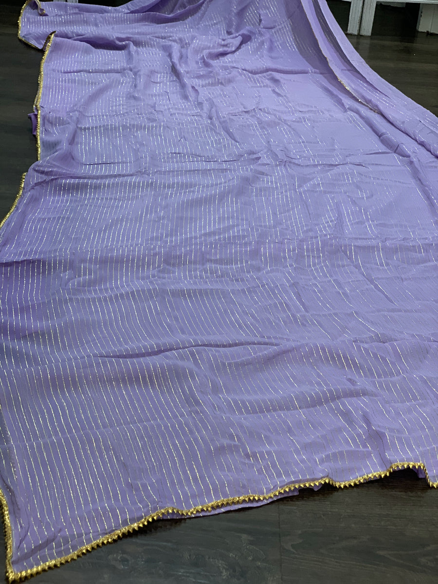 Pastel Purple and Gold Georgette Saree