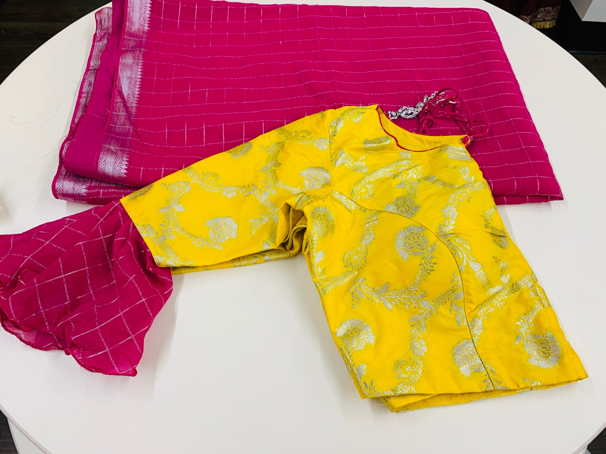 Pink and Yellow Georgette Saree