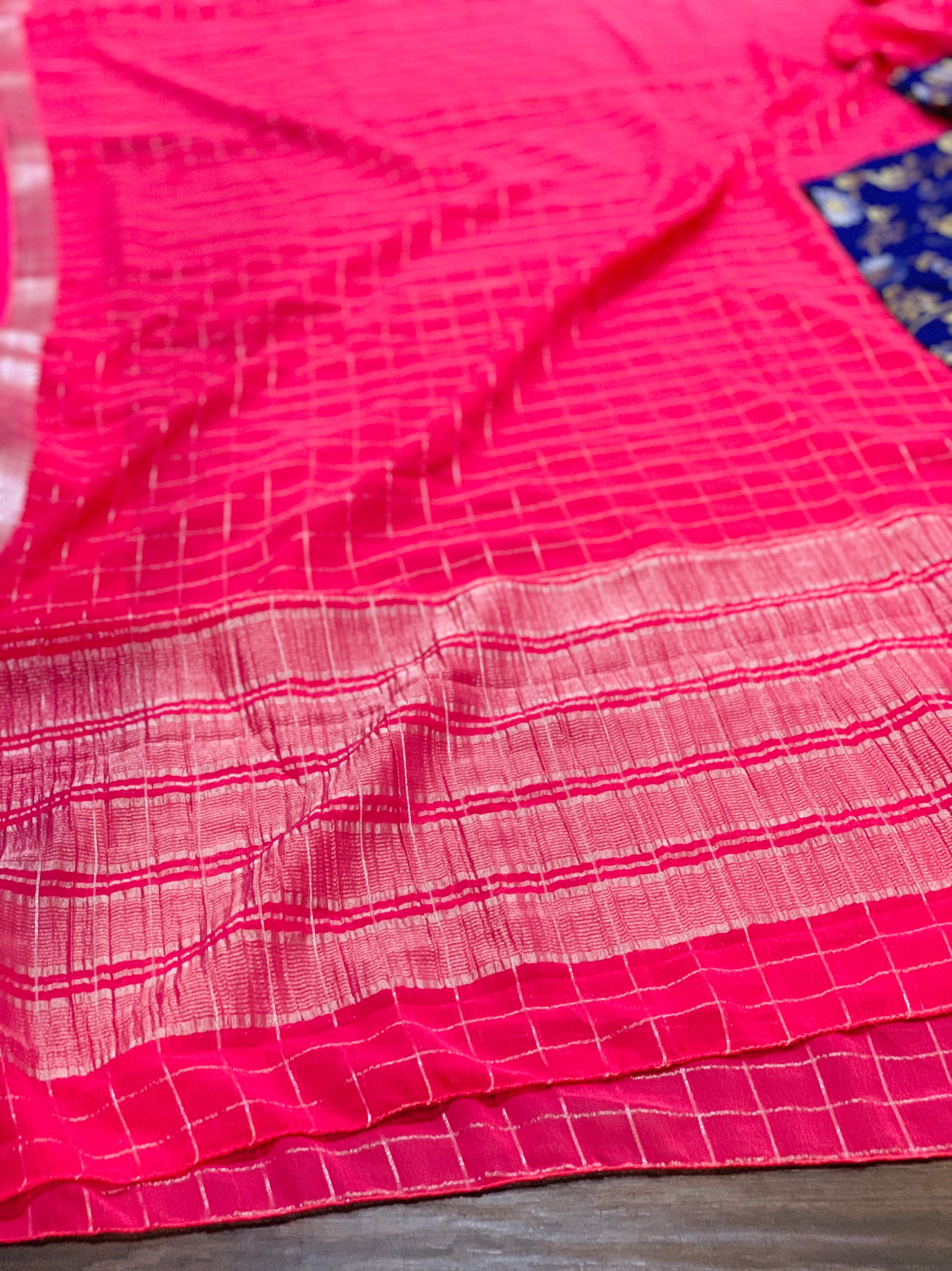 Pink and Blue Georgette Saree