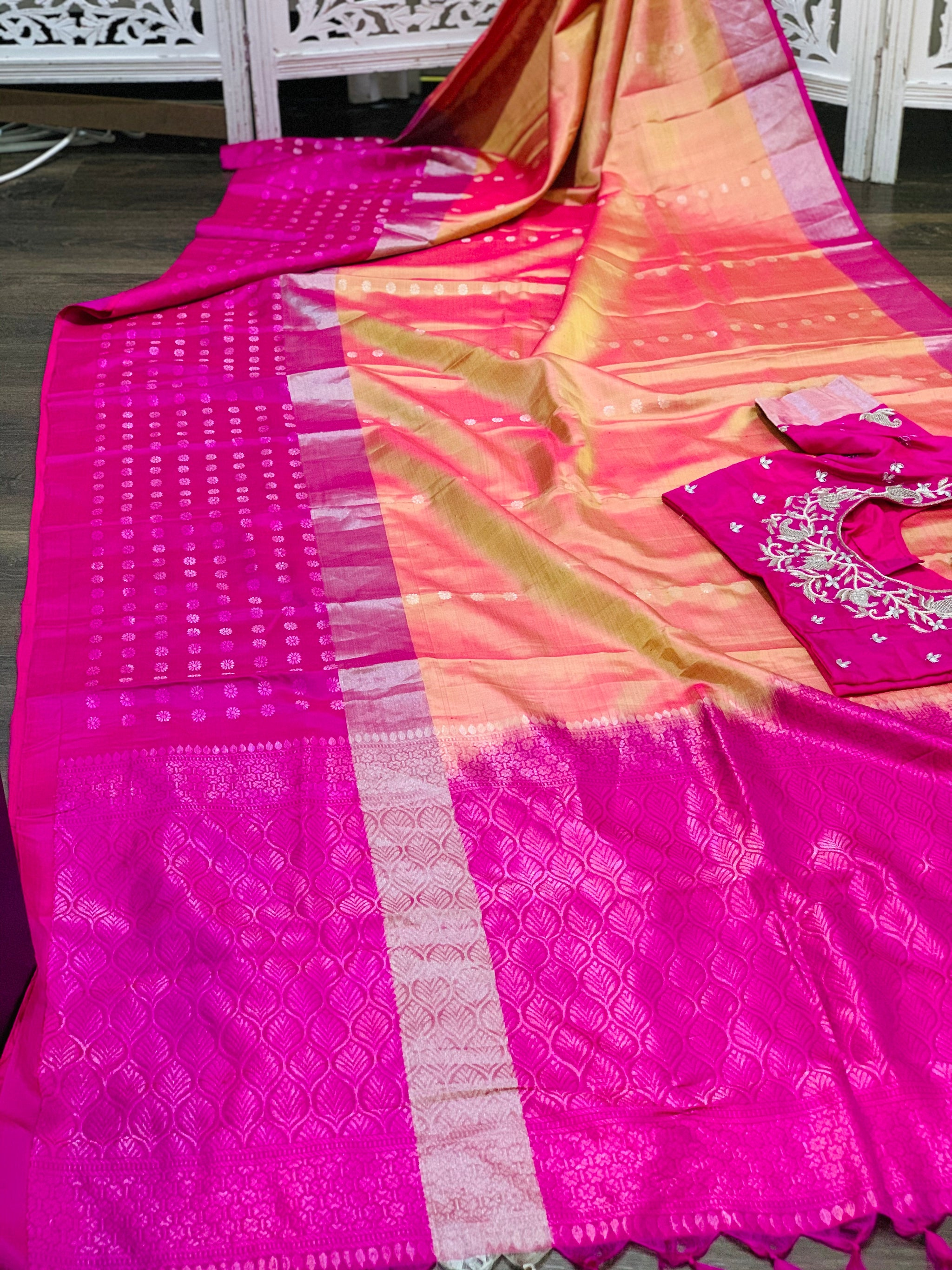 Orange/Pink and Pink Kanjeevaram Pure Silk Saree