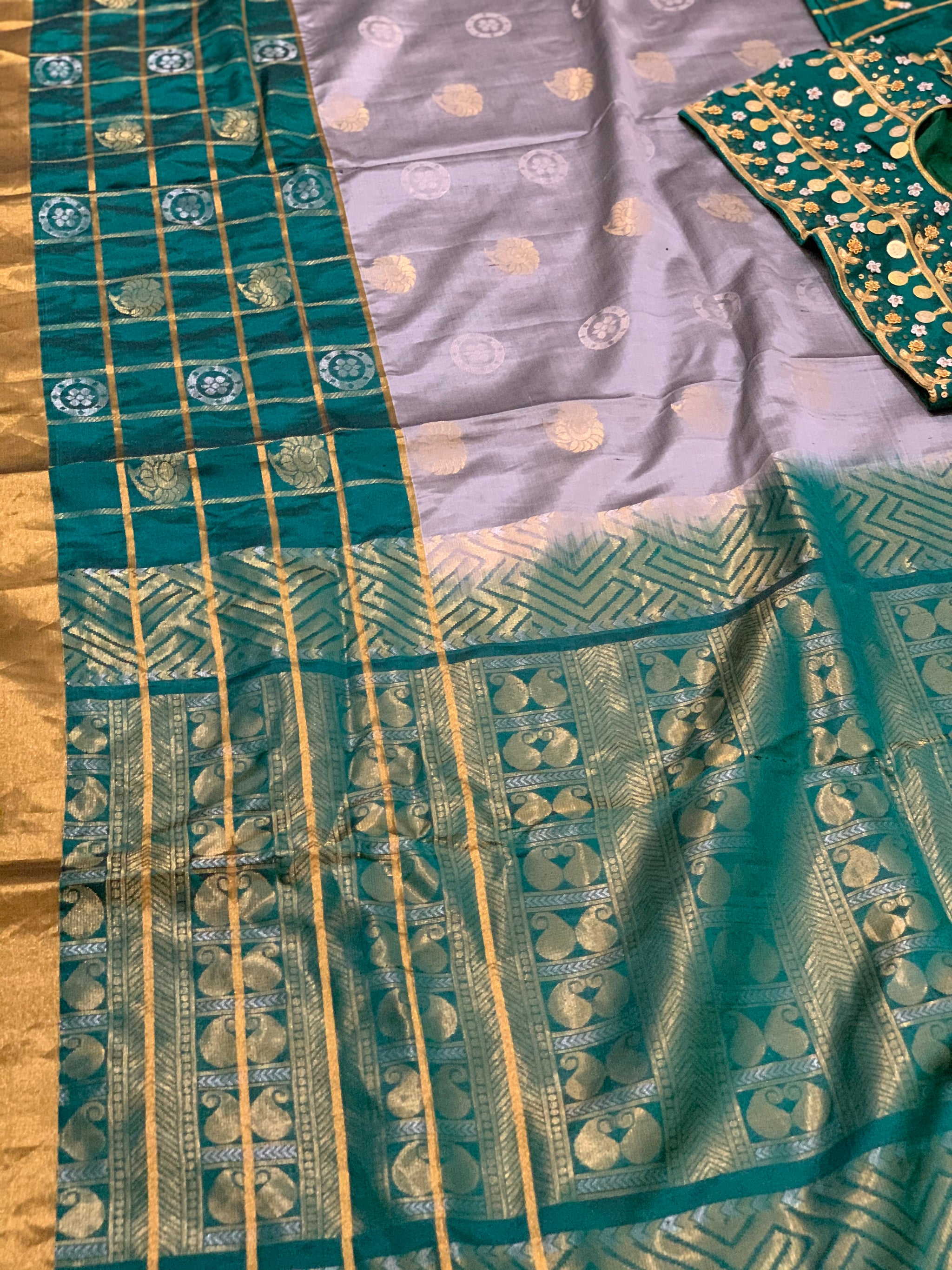 Grey and Green Kanjeevaram Pure Silk Saree