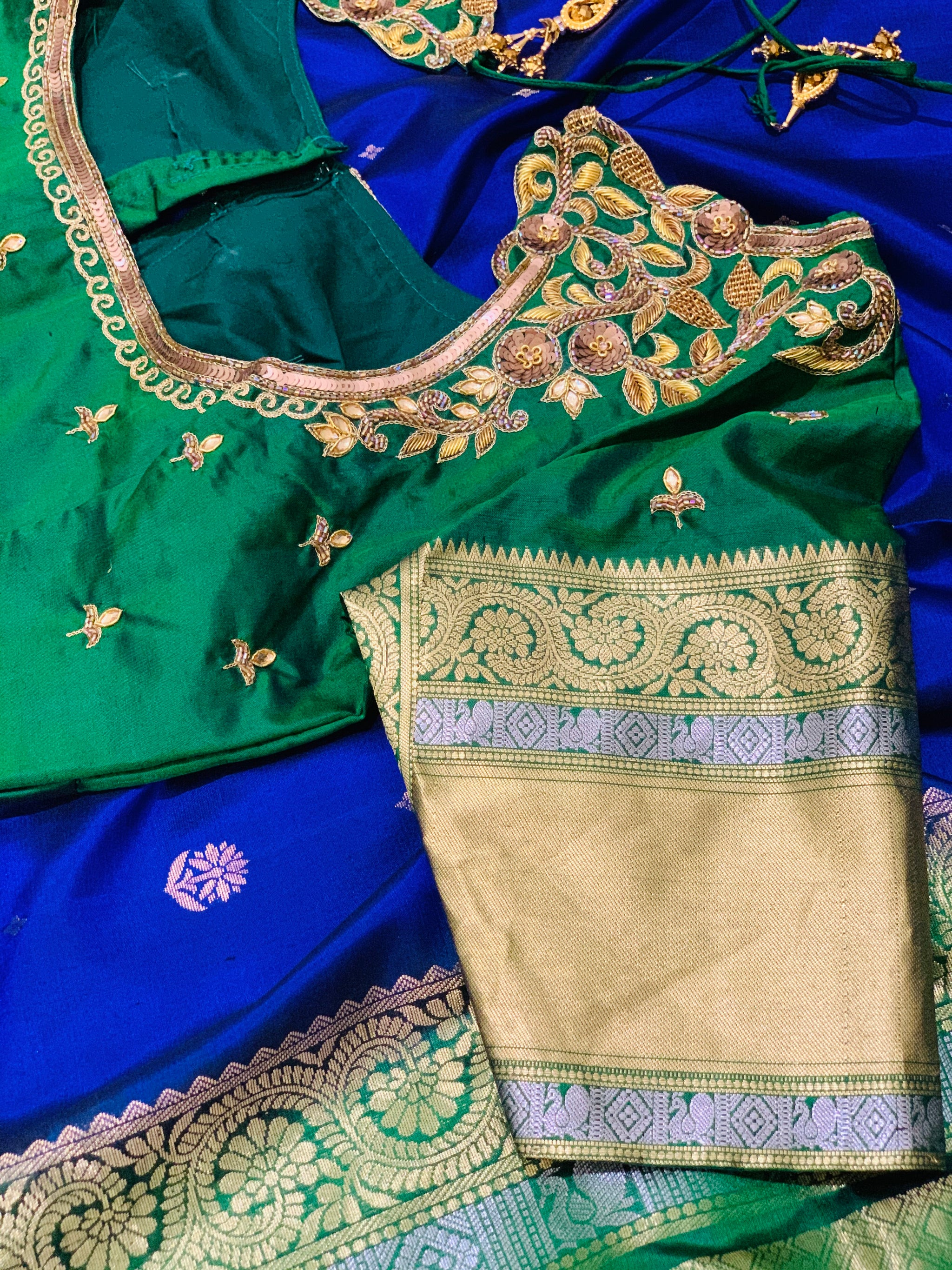 Blue and Green Gadwal Silk Saree