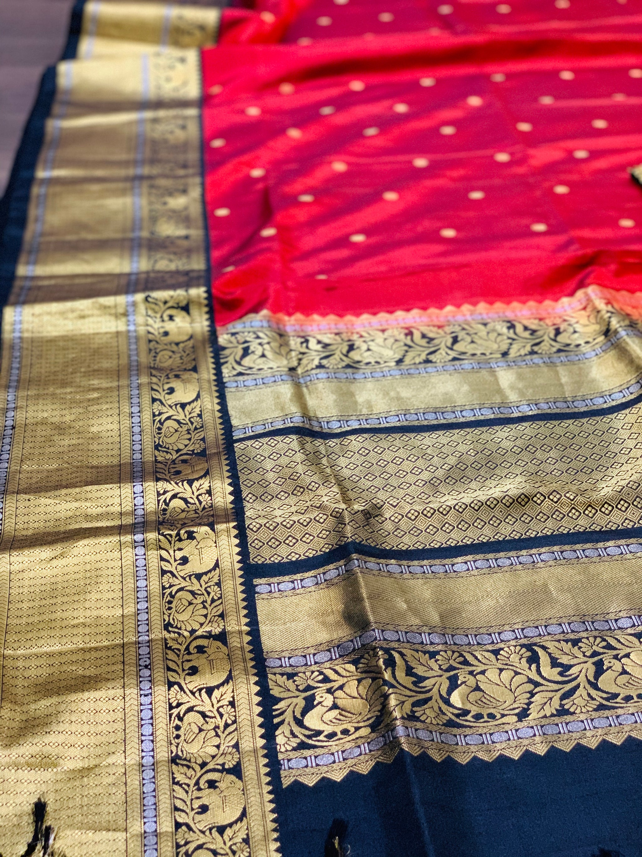 Maroon and Black Gadwal Silk Saree