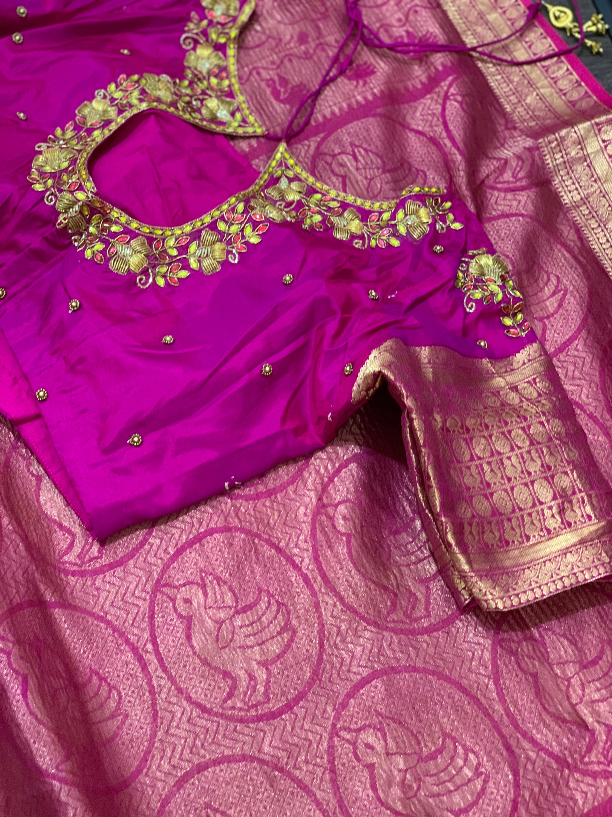 Yellow and Pink Khadi Georgette Saree