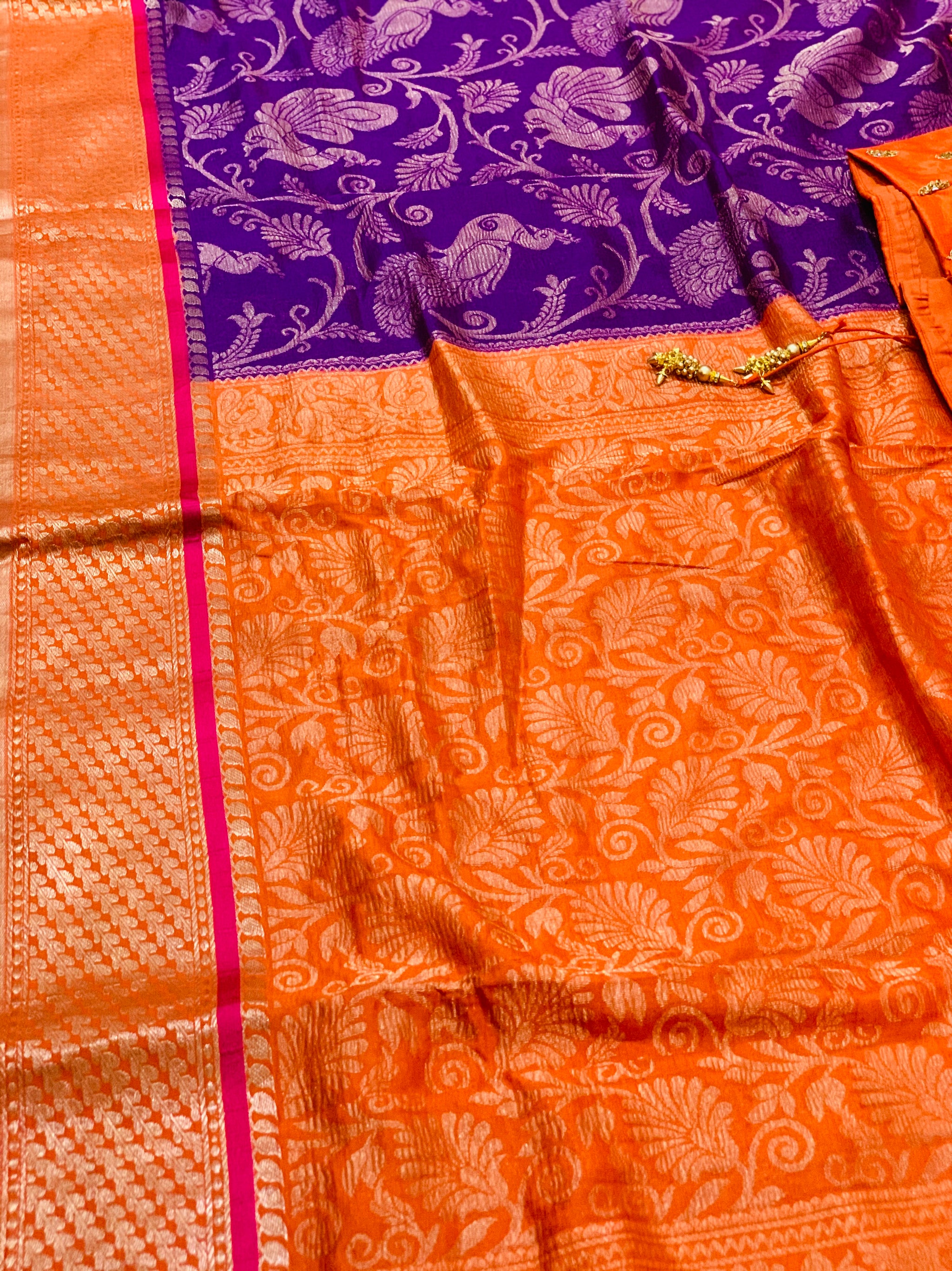 Purple and Orange Khadi Georgette Saree